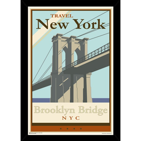 Shop Brooklyn Bridge Poster With Choice of Frame (24x36) - Free ...