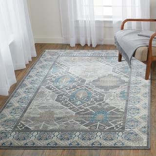 Linon Elegance Marble Turquoise Rug 5 X 7 3 Inch Free