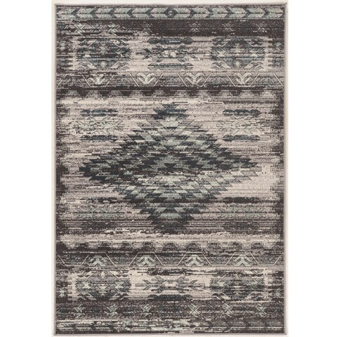 Vintage Collection Aztek Grey and Blue Rug