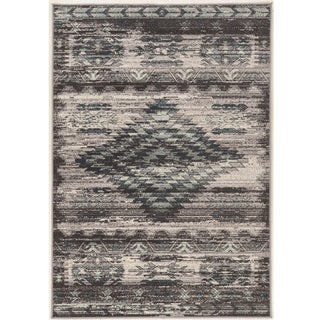 Vintage Collection Aztek Grey and Blue Rug (2' x 10')