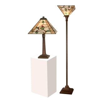 """Dale Tiffany Select 22""""H Schofield Table and Floor Lamp Set"""
