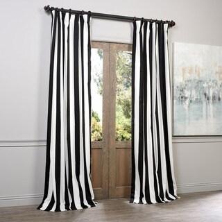 Exclusive Fabrics Cabana Black Stripe Cotton Curtain Panel 50W x 96L(As Is Item)