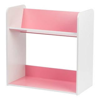 2-tier Pink and White Tilted Shelf Book Rack