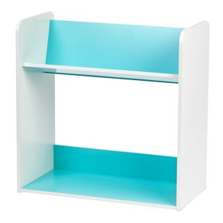 IRIS 2-tier Blue and White Tilted Shelf Book Rack