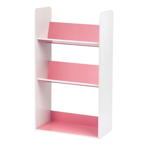 IRIS 3-tier Pink and White Tilted Shelf Book Rack