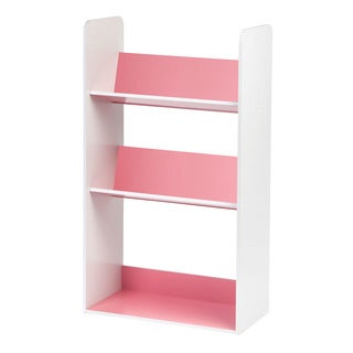 Iris Pink and White Wood 3-shelf Angled Bookcase