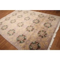 Hand-knotted Abusson Savonnerie Multicolor Wool Pile Tibetan Area Rug - 8' x 10'