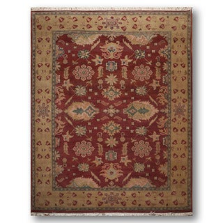 Oushak Oriental Burgundy/ Gold Wool Hand-knotted Persian Area Rug (8' x 10')