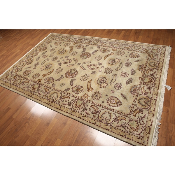 Shop Beige Wool Hand Knotted Oriental Persian Area Rug 6