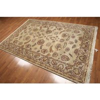 Beige Wool Hand-knotted Oriental Persian Area Rug (6' x 9')