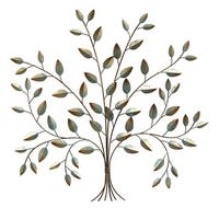 Stratton Home Decor Tree of Life Teal/Gold-tone Metal Wall Decor