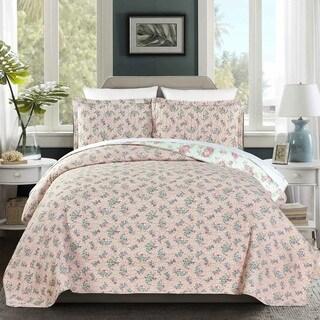 Olivia 100 Cotton Pre-Washed Reversible 3 piece Quilt Set