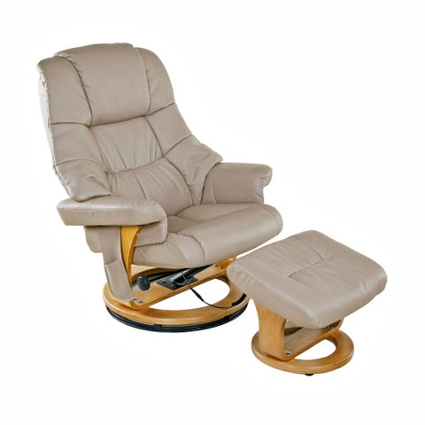 Relaxzen 60-079008 8 Motor Massage Recliner with Heat and Ottoman, Beige and Wood Base