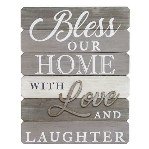 Stratton Home Decor 'Bless Our Home with Love and Laughter' White/Brown Wood/Metal Wall Decor