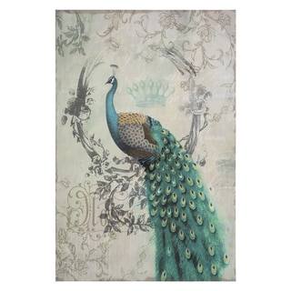 Yosemite Home Decor 'Peacock Poise II' Original Hand-painted Wall Art