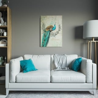 Yosemite Home Decor 'Peacock Poise I' Canvas Handpainted Original Wall Art