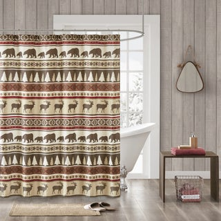Madison Park Butte Red Herringbone Printed Shower Curtain