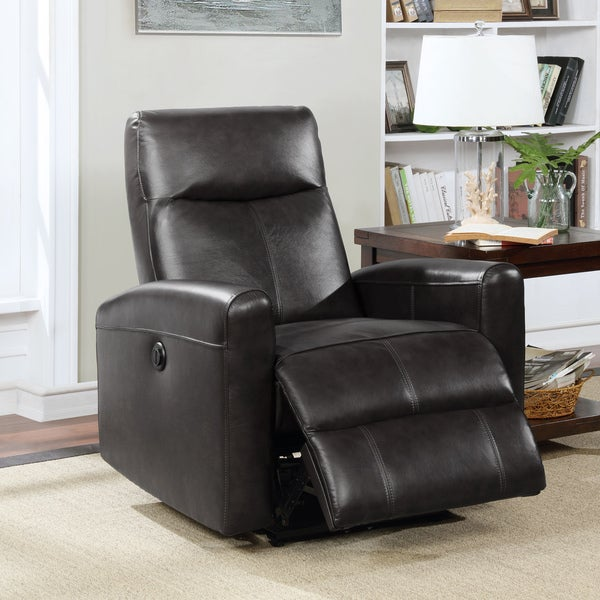 Eli Collection Contemporary Leather Upholstered Living Room Electric Recliner Power Chair