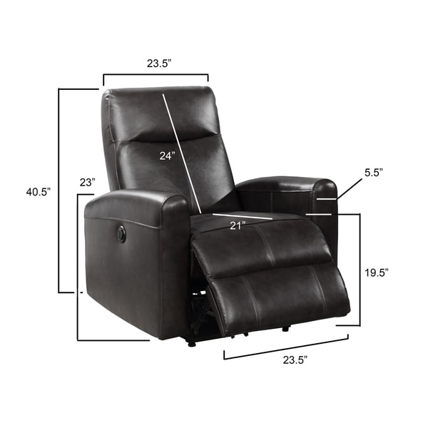 Eli Contemporary Leather Living Room Power Recliner with Lumbar Massage