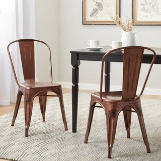 Tabouret Brushed Copper Bistro Dining Chairs (Set of 2) (As Is Item)
