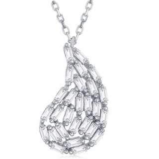 "Sterling Silver 16+1"" Baguette Nugget Shaped Necklace
