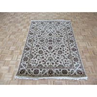 Agra Beige Wool Hand-knotted Oriental Rug - 4'11 x 6'11