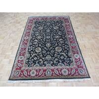 Agra Black Wool Hand-knotted Oriental Rug - 5'11 x 9'