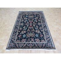 Hand-knotted Agra Black Wool Oriental Rug - 6' x 9'2