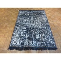 Tabriz Black Silk Hand-knotted Abstract Area Rug - 5'1 x 7'2