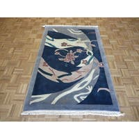 Chinese Art Deco Blue Wool Hand-knotted Abstract Rug - 4' x 6'