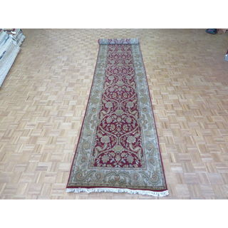 Agra Burgundy Wool Hand-knotted Oriental Runner Rug (4'1 x 20'2)