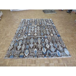 Ikat Chocolate Brown Wool Hand-knotted Oriental Rug (7'11 x 10'5)