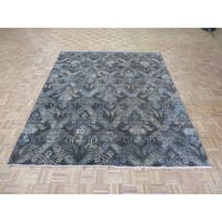 Ikat Chocolate Brown Wool Hand-knotted Oriental Rug (7'11 x 9'11)
