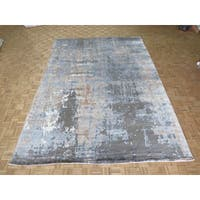 Hand-knotted Modern Grey Bamboo Oriental Rug (10'0 x 14'1)