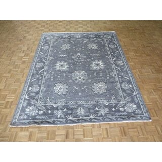Oushak Grey Wool Hand-knotted Oriental Rug (8'2 x 10'2)