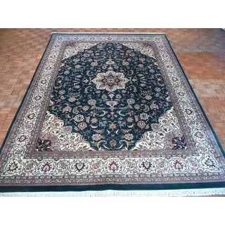 Kashan Green Wool Hand-knotted Oriental Rug (10' x 14')