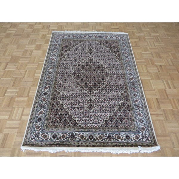 Fine Round Persian Bidjar Area Rug Hand Knotted Wool And: Shop Fine Mahi Tabriz Ivory Wool And Silk Oriental Hand
