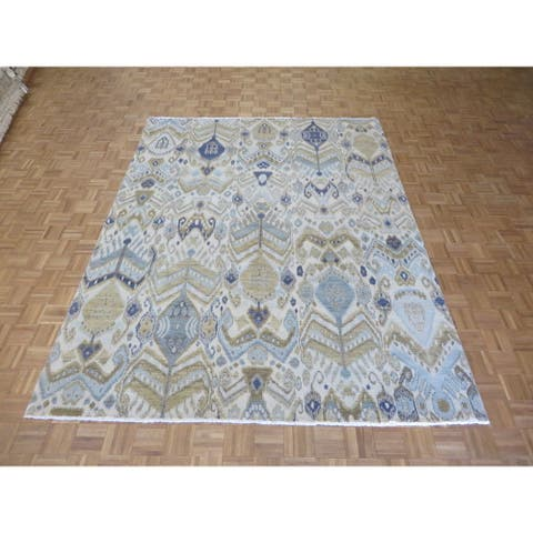 Hand-knotted Ikat Ivory Wool Oriental Rug - 8'0 x 10'5