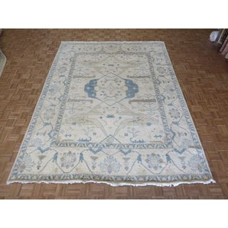 Oushak Ivory Wool Hand-knotted Oriental Rug (9' x 11'10)