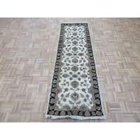 Tabriz Ivory Wool/Silk Hand-knotted Oriental Rug - 2'6 x 8'0