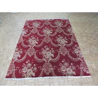 Hand-knotted Agra Red Silk Blend Oriental Rug - 9'1 x 12'2