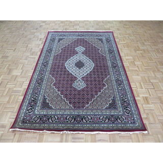 Red Mahi Tabriz Red Wool and Silk Oriental Hand-knotted Rug (6' x 9')