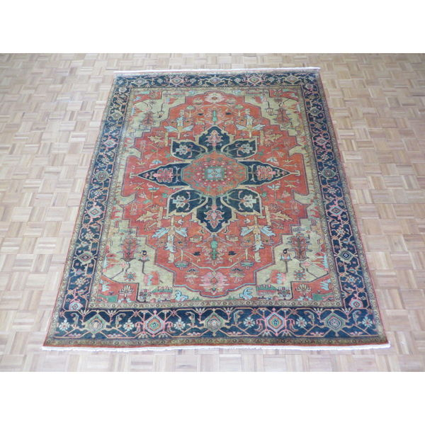 Hand Knotted Persian Kashan Wool Area Rug Ebth: Shop Rust/Orange Wool Hand-knotted Serapi Heriz Oriental