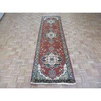 Hand-knotted Fine Serapi Heriz Rust Red Wool Oriental Rug - 3'2 x 11'8