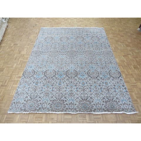 Ikat Silvertone/Beige Silk-blend Hand-knotted Oriental Rug - 9'1 x 12'2