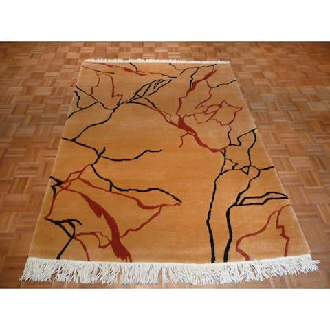 Hand-knotted Tufenkian Marble Tan Wool Oriental Rug - 5'8 x 8'1