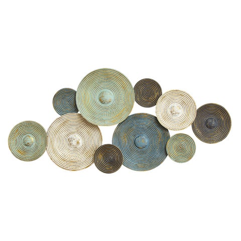 Stratton Home Decor 'Asheville' White/Green/Brown Metal Textured Plates Wall Decor