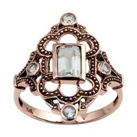 Viducci 10k Rose Gold Vintage Style Genuine Green Amethyst Ring