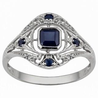 Viducci 10k White Gold Vintage Style Genuine Sapphire and Diamond Ring - Blue