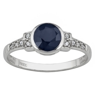 Viducci 10k White Gold Vintage Style Genuine Sapphire and Diamond Ring - Blue
